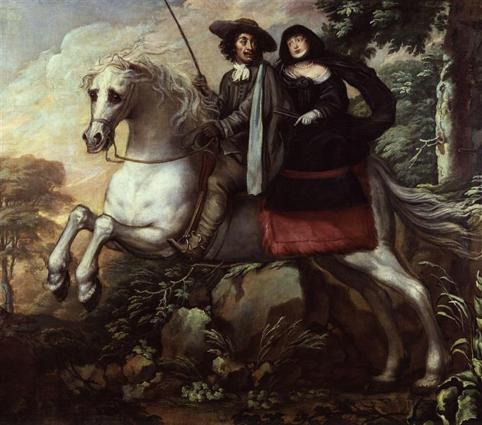 King Charles II and Jane Lane Riding to Bristol - Isaac Fuller