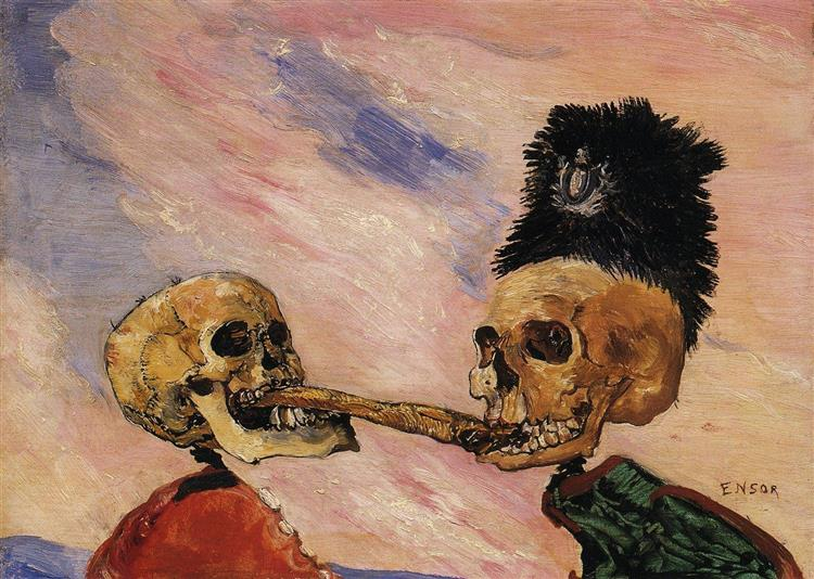Skeletons Fighting Over a Pickled Herring, 1891 - James Ensor