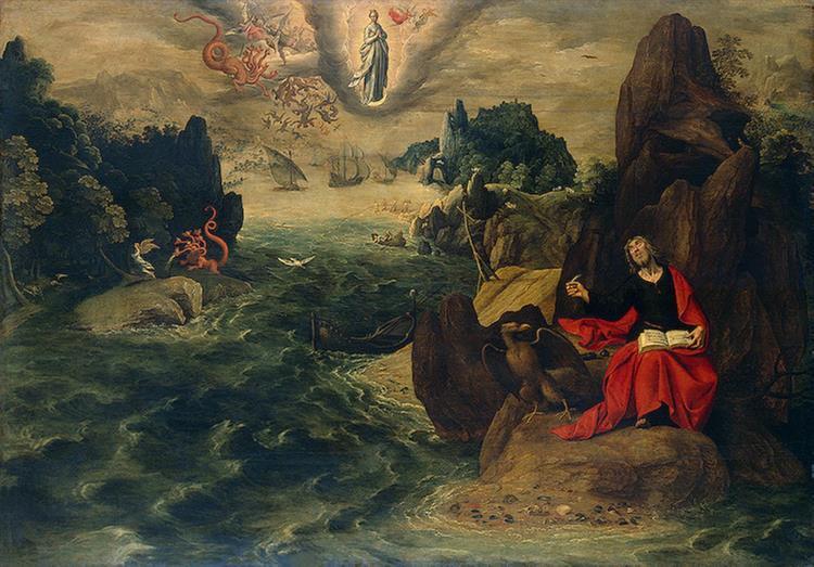 Пейзаж с Иоанном Евангелистом , пишущим книгу апокалипсиса на острове Патмос, 1598 - Тобиас Верхахт