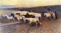 Herd of Oryol trotters - Mykola Samokysh