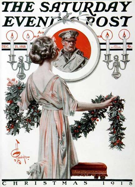 Hanging Holly, by J. C. Leyendecker. Saturday Evening Post Cover, December 21, 1918, 1918 - J. C. Leyendecker