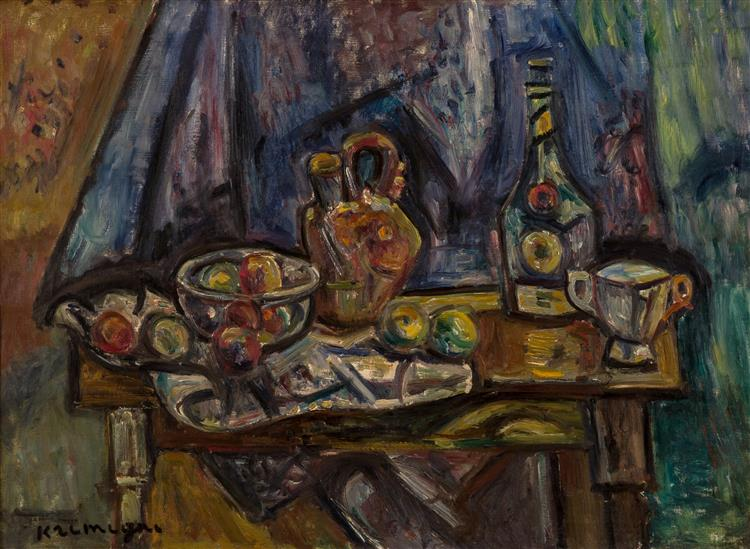 Still Life with Apples, Wine, Vase and Cup - Пинхус Кремень