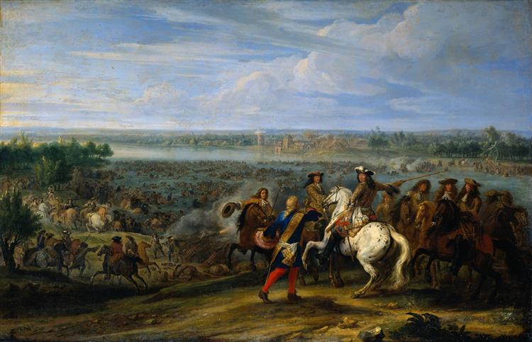 Crossing of the Rhine by French Troops in 1672, 1672 - Adam Frans van der Meulen