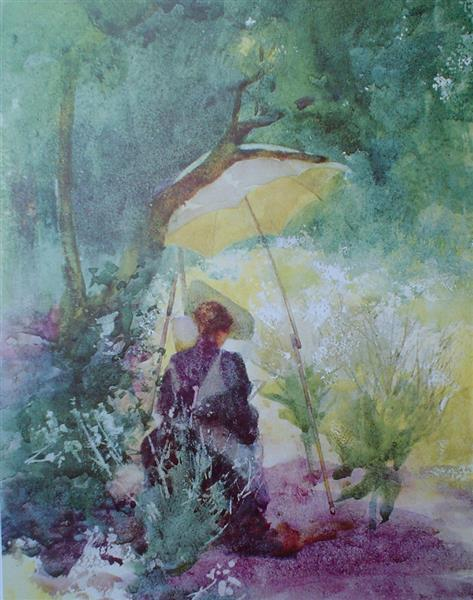 A Woman Sketching In A Glade - Mildred Anne Butler
