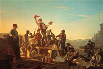 Jolly Flatboatmen in Port - George Caleb Bingham