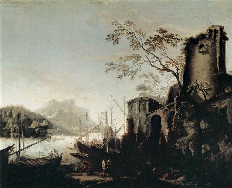 Marine Landscape with Towers, 1645 - Salvator Rosa