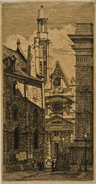St. Etienne-du-mont, Paris, from Eaux-fortes Sur Paris (etchings of Paris), 1852 - Charles Meryon