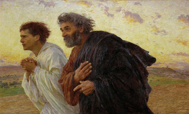 the Disciples Peter and John Running to the Tomb on the Morning of the Resurrection, 1898 - Eugène Burnand