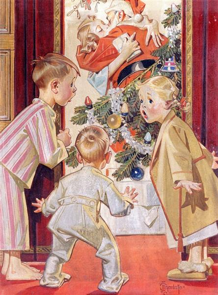 I Say Mommy Kissing Santa Claus - Frank Xavier Leyendecker