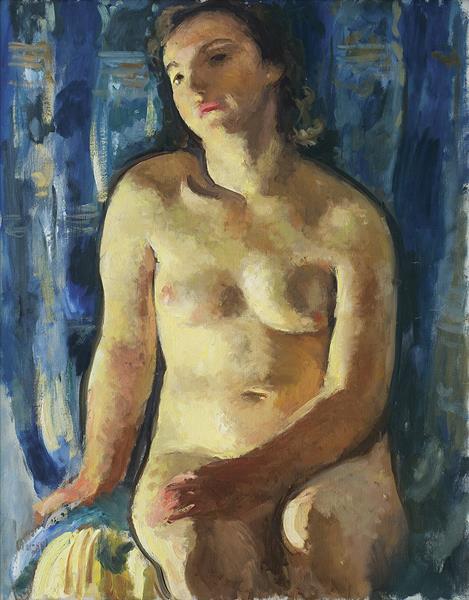 Blue-Gold Nude, 1935 - Wojciech Weiss