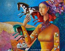 Herd of Horses and Woman - Zaya