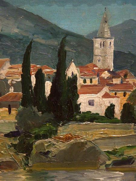 Józef Pankiewicz - Landscape with a Church and Cypresses Ca. 1914, Oil on Canvas - Józef Pankiewicz