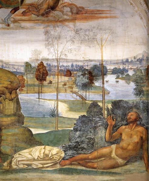 Life of St Benedict, Scene 8. Benedict is Tempted (detail), 1505 - 1508 - Giovanni Antonio Bazzi