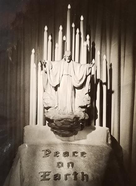 "Carved Maple-wood Figure of Jesus Christ Ascending into Heaven 38"" X 38""; as Seen in 1945. - Joseph Urbania"