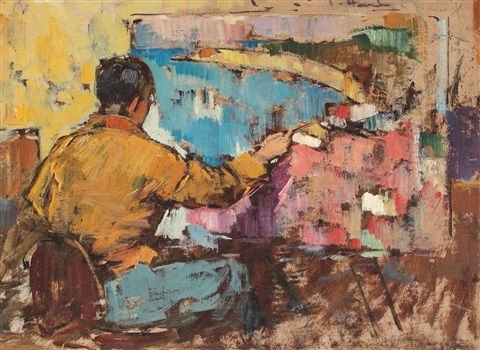 Self-portraid at the easel - Teodor Harșia