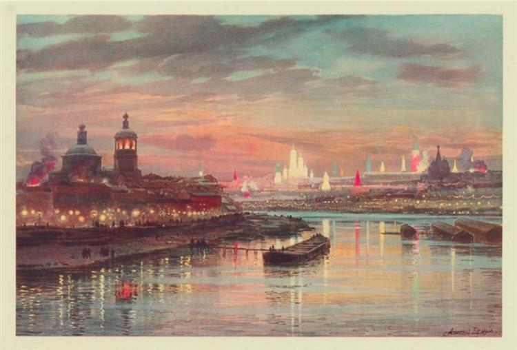 Coronation of Nicholas II, Illuminations In Moscow, 1896 - Albert Benois