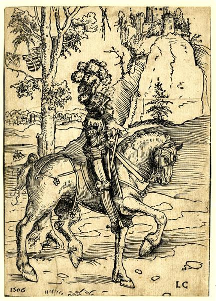 Knight in Armor Riding toward the Right, 1506 - Lucas Cranach der Ältere