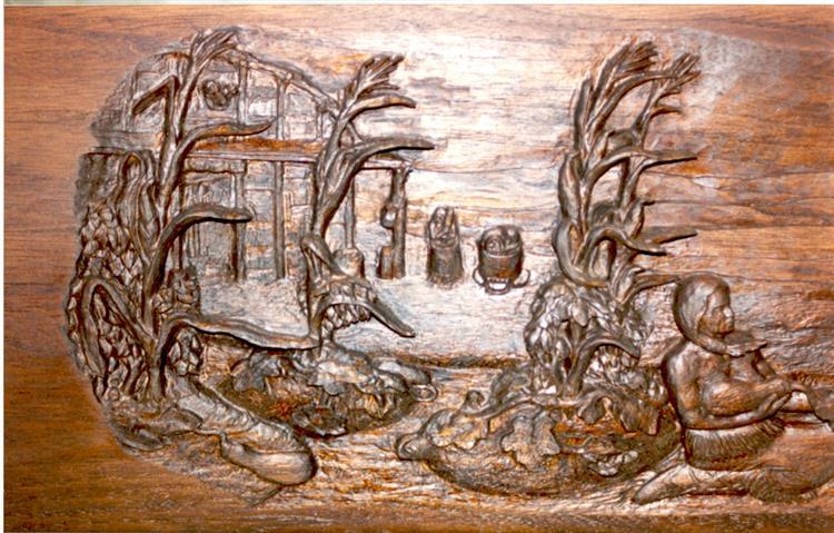 Iroquios Fireplace Mantle (Left Hand Side), 2004 - Lex Blaakman