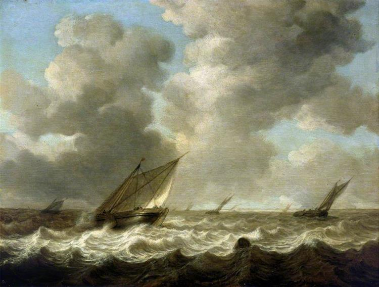 Fishing Boats in a Rough Sea, 1644 - Simon de Vlieger