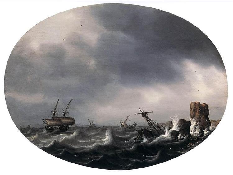 Stormy Sea, 1650 - Simon de Vlieger
