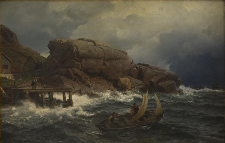 A Norwegian Seaport - Hans Gude