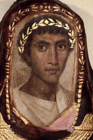 Fayum Mummy Portrait. Detail from the Mummy Case of Artemidorus the Younger, a Greek Who Had Settled in Thebes, Egypt, During Roman Times (100 ad) - Fayum portrait