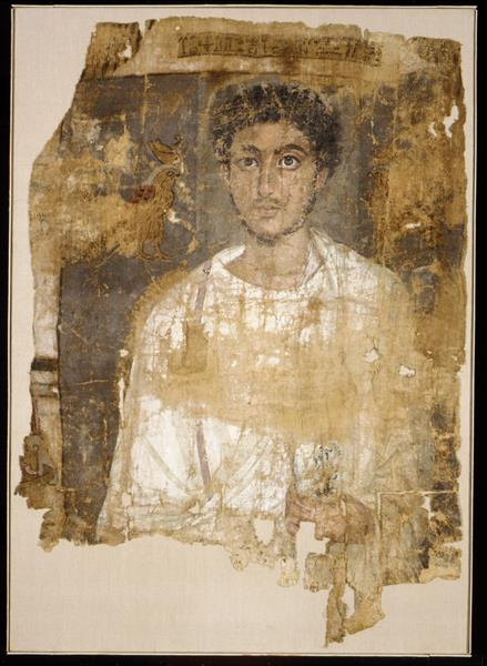 Fragmentary Shroud with a Bearded Young Man - Fayum portrait