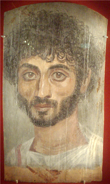 Painted Mummy Cover of a Young Man with Black Curly Hair - Fayum portrait