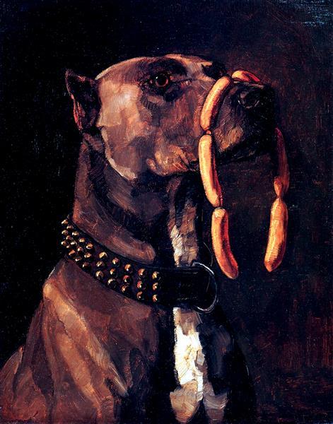 Dog with Sausages - Wilhelm Trubner