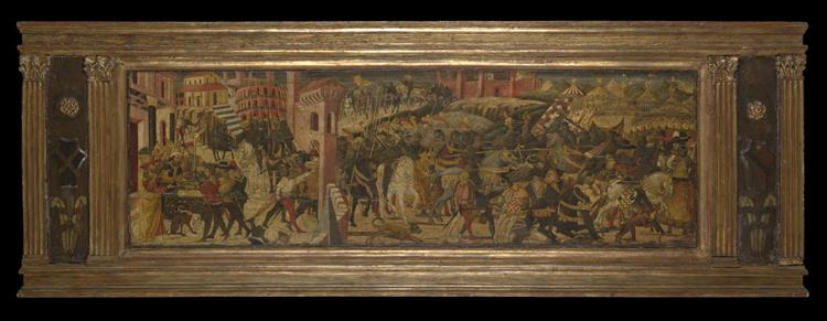 King Brennus of Gaul Captures the City of Rome; Marcus Furius Camillus Expels King Brennus From rome, 1450 - Lo Scheggia