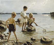 Boys Playing on the Shore - Альберт Эдельфельт