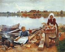 Laundry at the river bank - Järnefelt, Eero