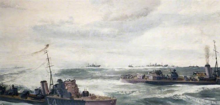 A Destroyer Escort in Attack, 1941 - Richard Eurich