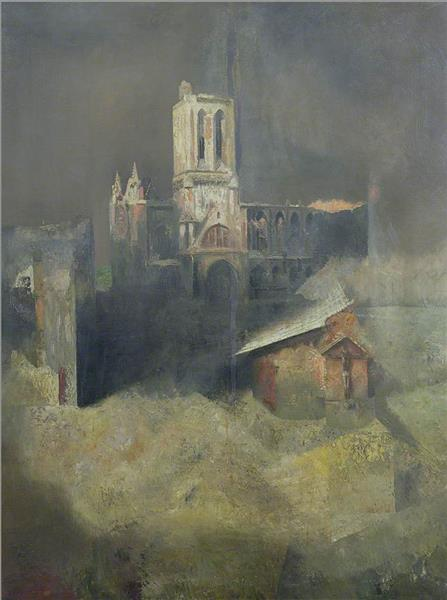 D Day, Reconstruction (Bombed Cathedral), 1944 - Richard Eurich