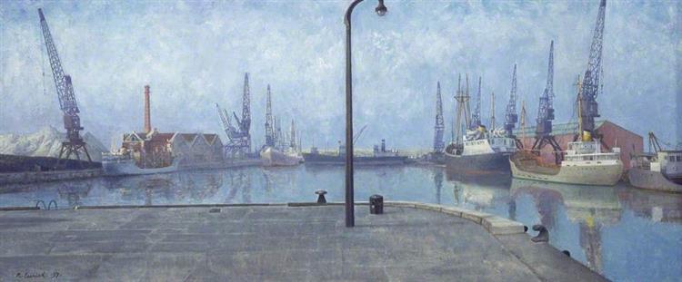 Docks at Goole, Early Morning, 1971 - Richard Eurich