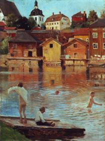 Boys Swimming in the Porvoo River - Альберт Эдельфельт