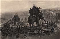 Hannibal's army crossing the Rhône - Henri Motte