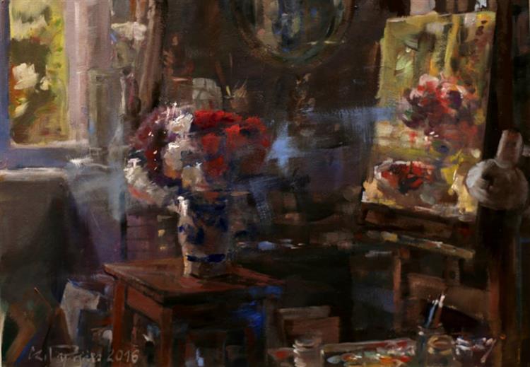 Pracownia artysty z kwiatami i obrazem, 2016 - Czesław Jan Pyrgies