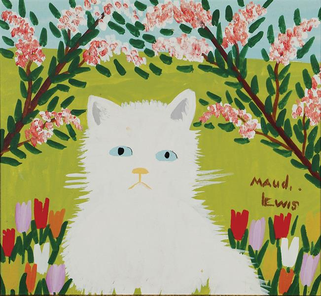 White Cat (Fluffy), c.1960 - Maud Lewis