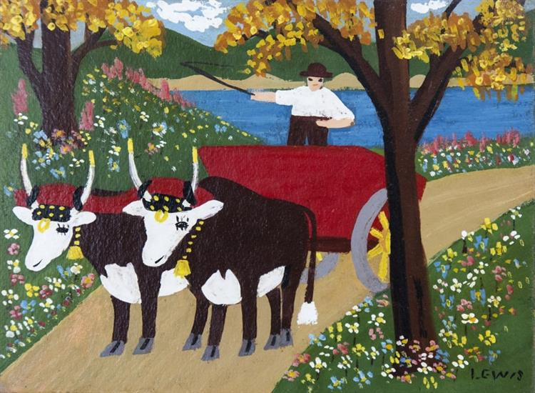 Oxen in Spring 1962 - Maud Lewis