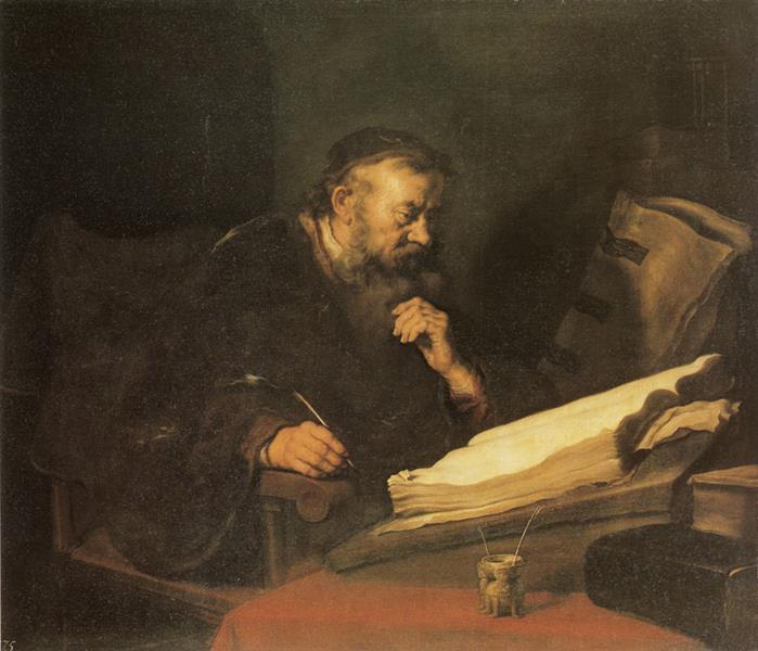 A Man at his Desk - Salomon Koninck
