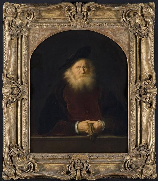 Bearded Old Man in a Beret at a Balustrade, Holding His Gloves, 1650 - Salomon Koninck