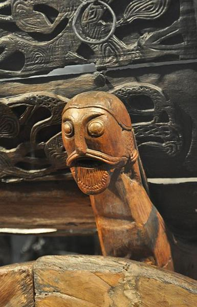 A Detail of the Carved Four Wheel Wooden Cart from Oseberg Ship, c.800 - Viking art