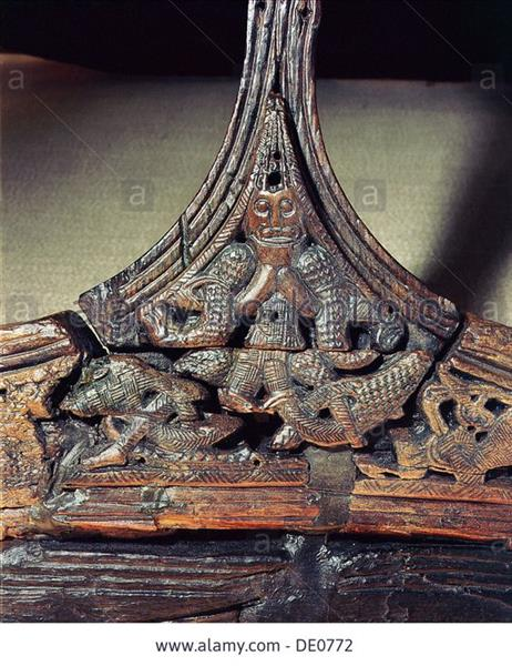 Detail of Carving on One of the Sledges Found in the Oseberg Ship Burial - Північне мистецтво