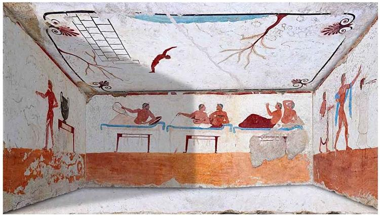 Tomb of the Diver in Paestrum, Italy, c.470 BC - Ancient Greek Painting