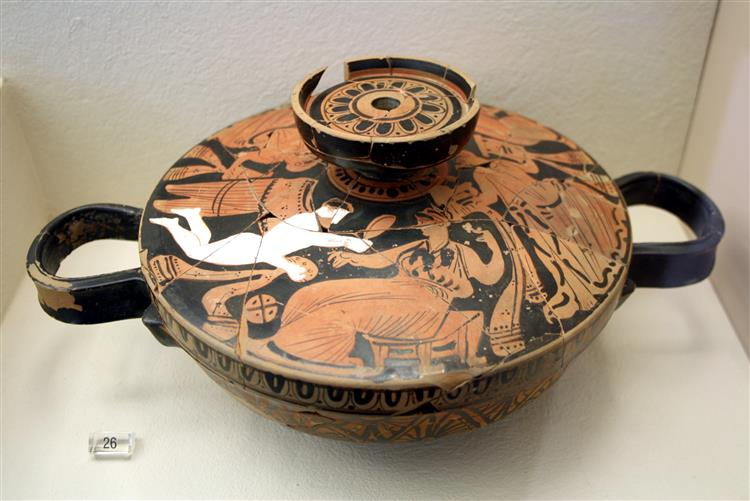 Bowl with a Scene of Preparation to the Wedding Painted on the Lid, c.360 BC - Ancient Greek Pottery