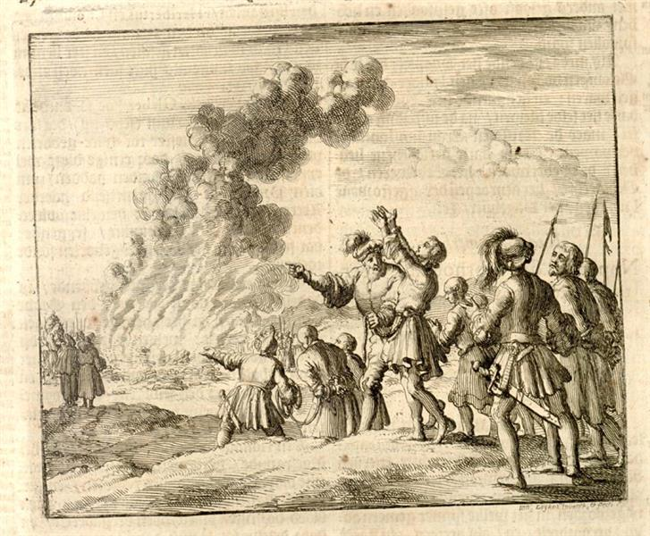 Burning of 14 Persons, Orleans, France, AD 1022, 1684 - Jan Luyken