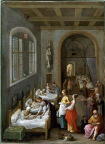 Saint Elizabeth of Hungary Bringing Food for the Inmates of a Hospital - Adam Elsheimer