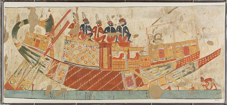 Boat Carrying Captives from Nubia, Tomb of Huy, c.1353 - c.1327 BC - Ancient Egyptian Painting