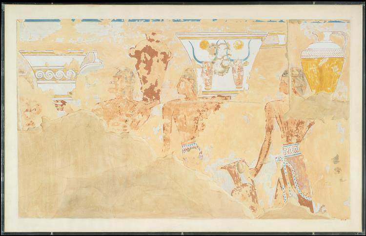 Fragmentary Scene of Foreigners, Tomb of Senenmut, c.1479 - c.1458 BC - Ancient Egyptian Painting